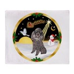Night Flight/Silver Poodle Throw Blanket