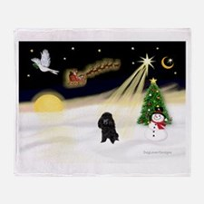 Night Flight/Poodle (min) Throw Blanket