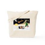 Night Flight/4 Poodles Tote Bag