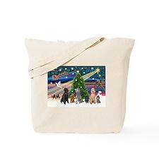 XmasMagic-6 Poodles Tote Bag