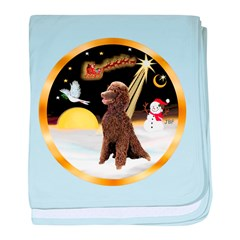 Night Flight/Poodle Std(choc) baby blanket