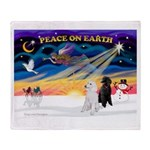 XmasSunrise/2 Std Poodles Throw Blanket