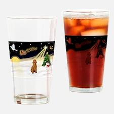 Night Flight/Std Poodle (blk) Drinking Glass