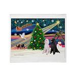 XmasMagic/2 Poodles (st) Throw Blanket