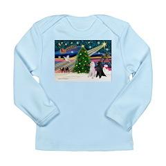 XmasMagic/2 Poodles (st) Long Sleeve Infant T-Shir
