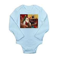 Santa's Std Poodle(c) Long Sleeve Infant Bodysuit