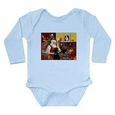 Santa's Poodle (ST-B4) Long Sleeve Infant Bodysuit