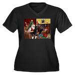 Santa's PWD Women's Plus Size V-Neck Dark T-Shirt