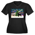XmasMagic/PWD Women's Plus Size V-Neck Dark T-Shir