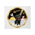 Night Flight/Pug (blk)#13 Throw Blanket