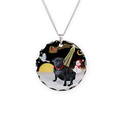 Night Flight/Pug (black) Necklace
