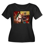 Santa's Two Pugs (P1) Women's Plus Size Scoop Neck