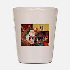 Santa's Two Pugs (P1) Shot Glass