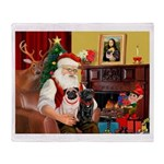 Santa's Two Pugs (P1) Throw Blanket