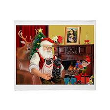 Santa's Two Pugs (P1) Throw Blanket