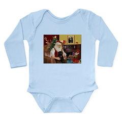 Santa's Black Pug Long Sleeve Infant Bodysuit