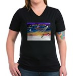 XmasSunrise/Rat Ter #1 Women's V-Neck Dark T-Shirt