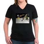 Night Flight/Rat Terrier Women's V-Neck Dark T-Shi