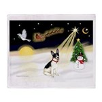 Night Flight/Rat Terrier Throw Blanket
