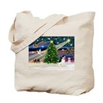 XmasMagic/Rat Terrier Tote Bag