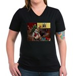 Santa's Rat Terrier Women's V-Neck Dark T-Shirt