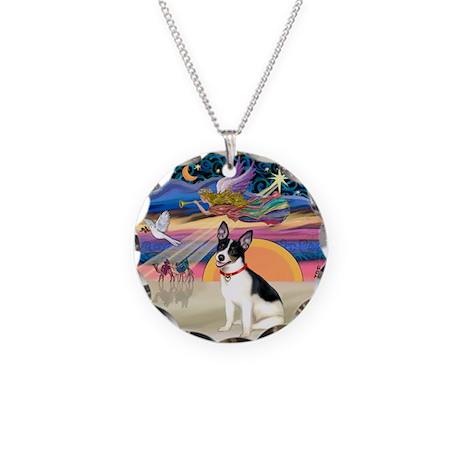 XmasStar/Rat Terrier Necklace Circle Charm