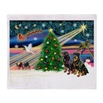 XmasMagic/2 Rotties Throw Blanket