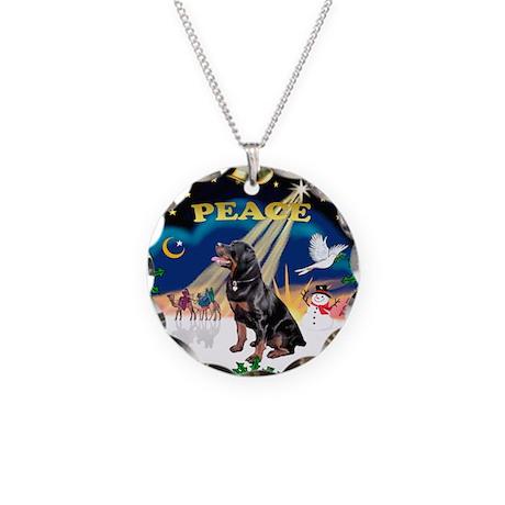 XmasSunrise/Rottweiler Necklace Circle Charm