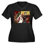 Santa's Samoyed Women's Plus Size V-Neck Dark T-Sh