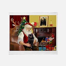 Santa's Schipperke Throw Blanket
