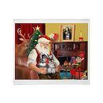 Santa's 2 Schnauzers Throw Blanket