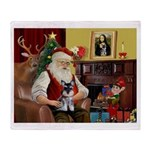 Santa's Schnauzer pup Throw Blanket