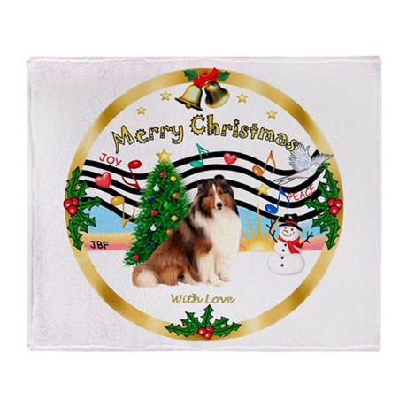XmasMusic3/Sheltie 7 Throw Blanket