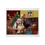 Santa's Sheltie (SW) Throw Blanket