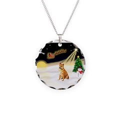 Night Flight/Shiba Inu Necklace Circle Charm