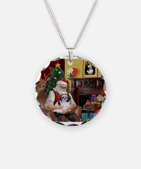 Santa's Shih Tzu (#1) Necklace Circle Charm