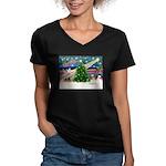 XmasMagic/Shih Tzu pup Women's V-Neck Dark T-Shirt