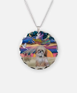 XmasStar/Shih Tzu Necklace Circle Charm