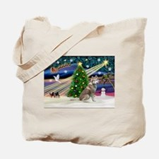 Xmas Magic & Red Husky Tote Bag