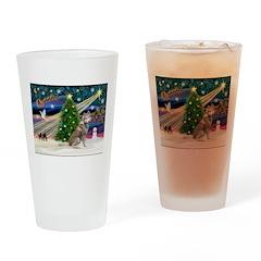 Xmas Magic & Red Husky Drinking Glass