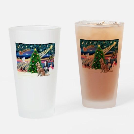Xmas Magic & S Husky Drinking Glass