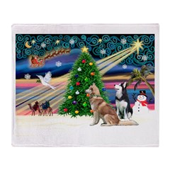 Xmas Magic & S Husky Throw Blanket
