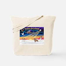 XmasSunrise/Tibetan Spaniel Tote Bag