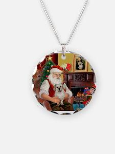 Santa/Tibetan Spaniel Necklace