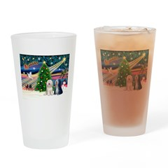 XmasMagic/TibetanTerriers Drinking Glass