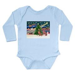 XmasMagic/2 Weimaraners Long Sleeve Infant Bodysui