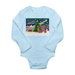 XmasMagic/2 Weimaraners Long Sleeve Infant Bodysui