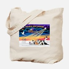 XmasSunrise/6 Corgis Tote Bag
