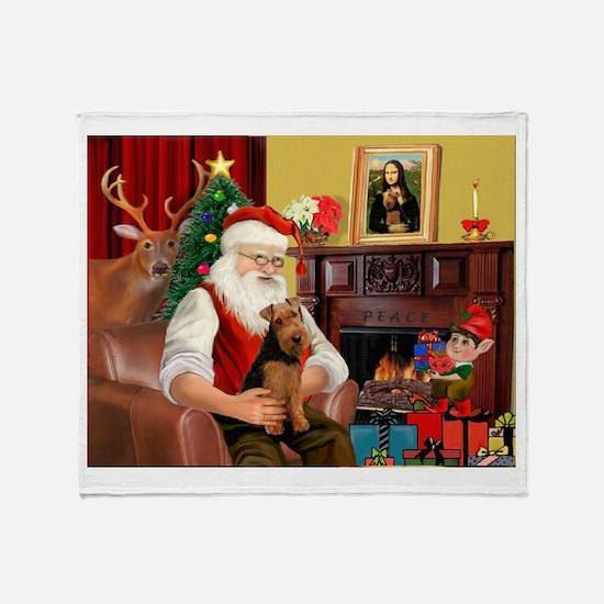 Santa's Welsh Terrier Throw Blanket
