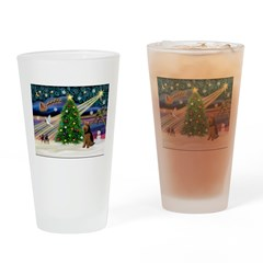 Xmas Magic & Welsh Terrier Drinking Glass